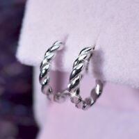 18k white gold gp 925 sterling silver earrings twisted rope huggies kids SMALL