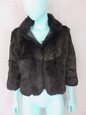 Matthew Williamson Black Rabbit Fur Coat/Jacket Size 10 Authentic
