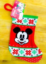 Disney Classic Mickey Mouse Knit Mini Christmas Stocking Red Green Snow Flakes