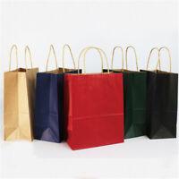 Party Gift Coloured Kraft Paper Handles Bag Wedding Birthday Portable Shopping