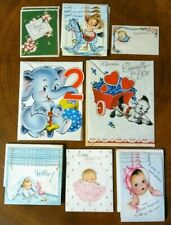 Vintage 1950s Greeting Card Lot, 21 Unused Birthday Birth Announcement Thank You