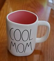 "Rae Dunn ""COOL MOM"" Ceramic Coffee Mug. White With Pink Interior"