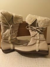 Topshop Cream Leather Fur Low Wedge Boots New 7 40