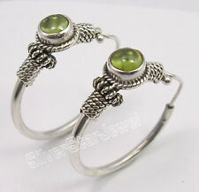 ANCIENT STYLE, 925 Solid Silver Rare PERIDOT TRIBAL INDIA HOOP Earrings 1.2 Inch