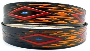SOUTHWESTERN DESIGN EMBOSSED MOTORCYCLE COWHIDE LEATHER BELT SIZE 26-48 USA MADE