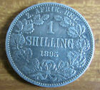1895 Low Mintage South Africa 1/-d 1 Shilling Silver Coin
