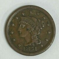 1851 Philadelphia United States Copper Large Cent Braided Hair Penny Coin #CO105