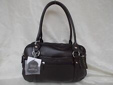 New Women's Ohh Ashley Lambskin Double Handle Mutli Compartment Handbag Brown