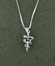 "Vet Tech  Necklace Sterling Silver 18 "" Chain Vet Veterinary Caduceus Animal"