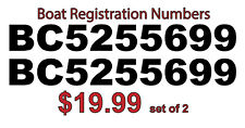 BOAT REGISTRATION DECALS / STICKERS set of 2