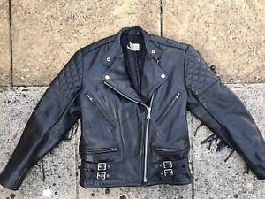 Vintage cafe racer motorcycle biker thick leather jacket with tassles fringed