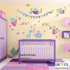 BANDIERA COLORATA giraffa/elefante/Farfalla Nursery Baby Fata Wall Sticker
