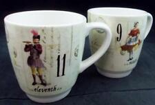 WILLIAMS-SONOMA 12 DAYS OF CHRISTMAS 2 Mugs 9/10 & 11/12 GREAT CONDITION