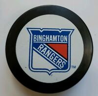 BINGHAMTON RANGERS VINTAGE AHL OFFICIAL GAME PUCK MADE IN SLOVAKIA VEGUM MFG.
