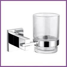 Square Single Tumbler Holder Brass Chrome Finished