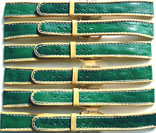 LOT OF 6 18mm FLEURUS GLOSSY GREEN STRIPE ON TAN CALF LEATHER WATCH BAND / STRAP