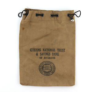 Vintage Canvas Drawstring Bank Coin Money Bag Citizens National Trust Riverside