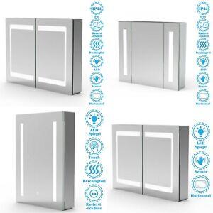 LED Spiegelschrank 50x70 60x80 80x60 mit Beleuchtung Steckdose Beschlagfrei Alu.