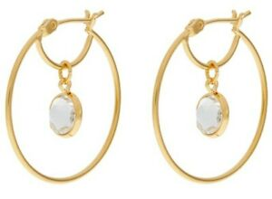 Monsoon Accessorize Suspended Hoop Earrings Z Collection Swarovski Crystal Bnwt