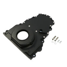 Black Aluminum Two Piece LS Engine Timing Chain Cover Chevy GM / Cam Sensor Hole