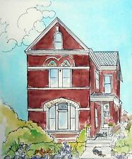 Victorian House Painting, Custom Portrait from your photos, watercolor and ink