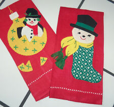 Lot 2 Vtg Hand Embroidery Applique Linen Snowman Ornament Stocking Towels Towel