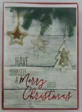 American Greetings Holiday Christmas Cards New 16 Wooden Background Paper Magic