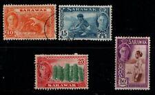 Sarawak 1950 King George VI selection to 50c SG177, 179, 181-82 Used