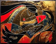 """OLEG ZHIVETIN Original Oil and Mixed Media on Canvas Painting """"WINGS"""", COA"""