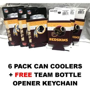 (6) WASHINGTON REDSKINS DOUBLE SIDED CAN COOLERS COOZIES + KEYCHAIN FREE SHIP