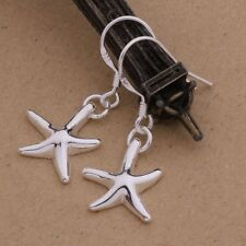 Fashion Women 925 Sterling Silver Starfish Solid Plated Dangle Earrings Studs