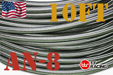 "7/16"" STAINLESS STEEL  BRAIDED -8AN AN8 8-AN OIL FUEL LINE HOSE 10FT"