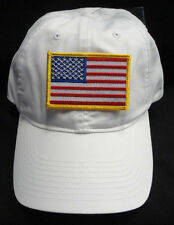Nike Golf Unstructured White Twill Dad Hat With Gold Border American Flag Patch