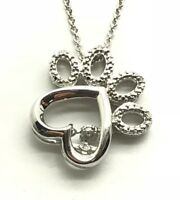 Sterling Silver 925 Dancing Round Diamond Heart Dog Paw Animal Love Necklace