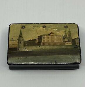 Tabak Dose Miniatur Malerei Russland Russian Lacquer Snuff Box  Vishnyakov 1869