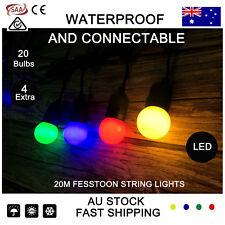 20M Coloured LED Festoon String Lights Kits Wedding Party Fairy Vintage Retro AU