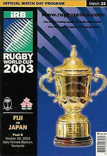 FIJI v JAPAN 23rd OCTOBER 2003 RUGBY WORLD CUP PROGRAMME