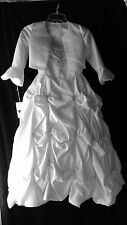 Girls Sz 8 Communion Flower Girl Pageant Long Ruffles Jacket  White Dress NWT