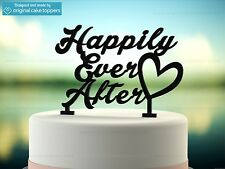 """Happily Ever After"" - Black - Wedding Cake Topper - Made by OriginalCakeToppers"