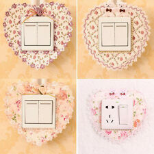 New 2pcs Pastoral Lace Fabric Switch Stickers Wall Stickers Switch Cover Dust