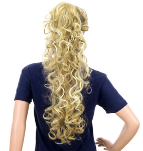 "SWACC 24"" Long Messy Curls Claw Clip Ponytail Extension Synthetic Beige/Blonde"