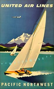 Pacific Northwest 1957 United Air Vintage Poster Print Mountains Sailing Travel