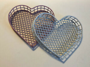 2 Small Heart Shape Plasic Covered Wire Baskets Pink & White Decor Organization