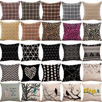 UK Flax Pillow Sofa Waist Throw Cushion Cover Home Sofa Decor Cushion Cover Case