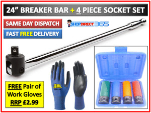 "Breaker Bar 1/2"" Dr 24"" Long Strong Arm Power Bar and 4pc Alloy Wheel Socket Set"