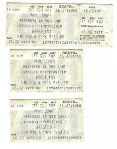 Vintage Lot of 3 Nov 6 1983 Georgia Championship Wrestling Atlanta Ticket Stubs