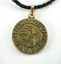 Viking Runic Talisman pendant on braided leather necklace