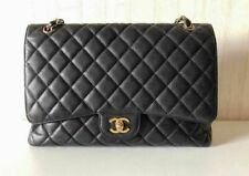 Chanel Vintage Maxi Black Caviar Single Classic Flap with 24K Gold hardware