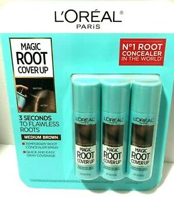 L'Oreal PARIS MAGIC ROOT COVER UP CONCEALER 3 PACK MEDIUM BROWN