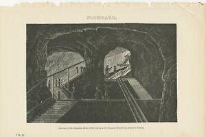 MINING 1870 Antique Lithograph Interior of the Graphite Mine of BATOUGOL SIBERIA